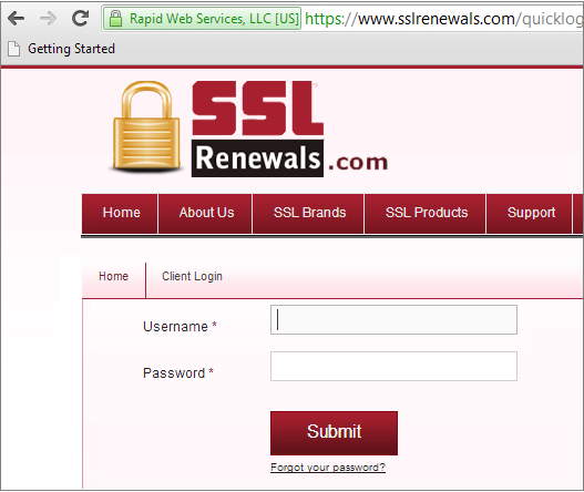 Secure Login Screenshot
