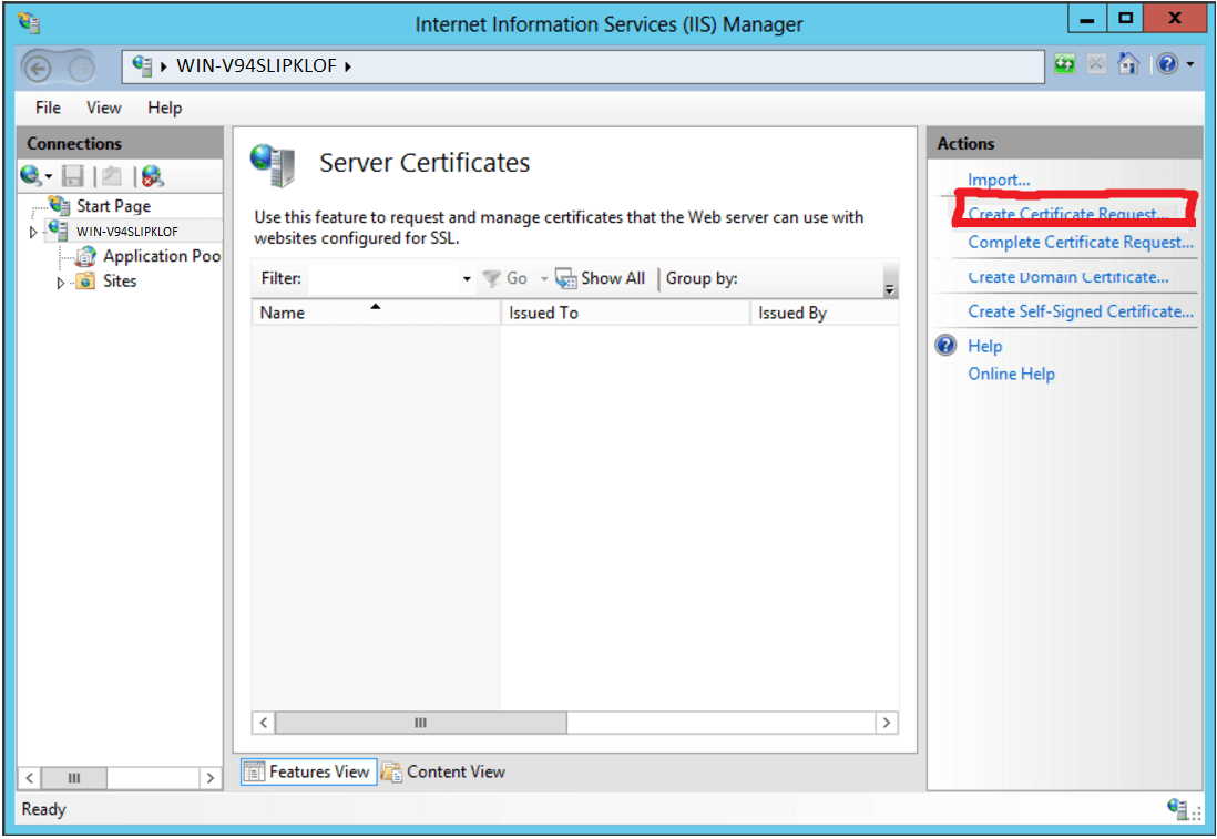 IIS Manager Create Certificate Request