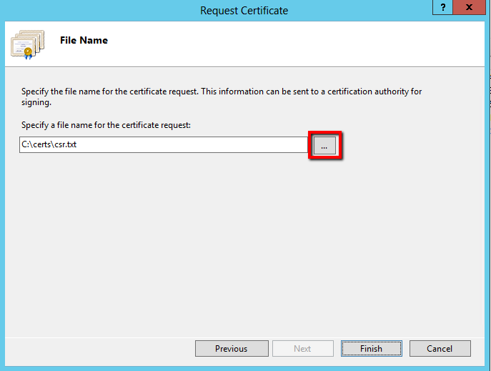 Request Certificate wizard