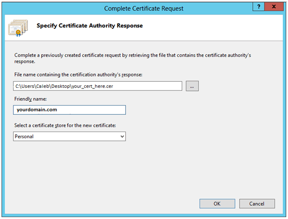 IIS Manager Complete Certificate Request