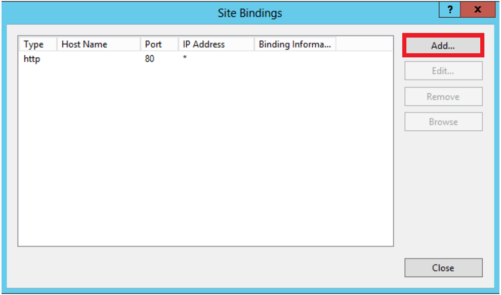 IIS Manager Site Binding Window
