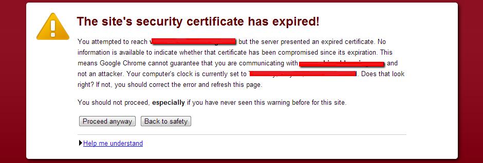 Expired SSL Certificate