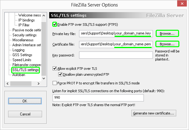 filezilla ssl certificate installation