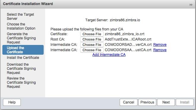 install ssl certificate zimbra