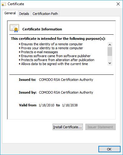 install intermediate certificate